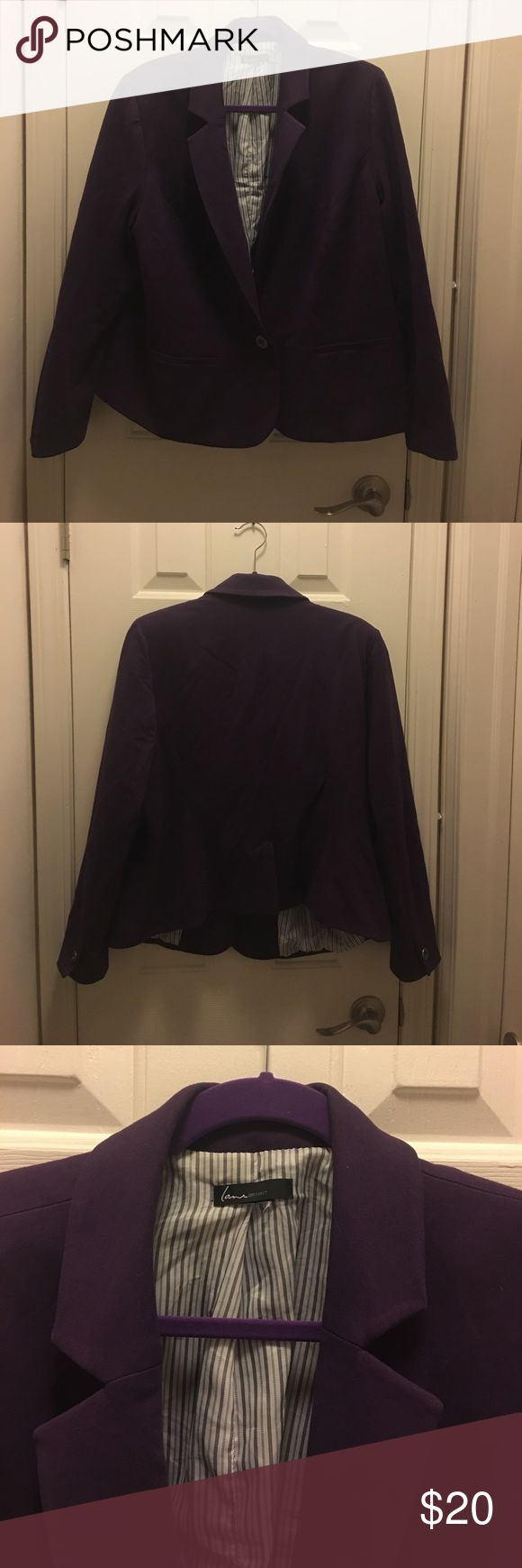 Plus size purple blazer with striped lining This plus sized purple blazer is versatile. It's comfortable terry like fabric allows you to dress it down with a tee and flats or throw over a dress to dress it up for a presentation. Lane Bryant Jackets & Coats Blazers