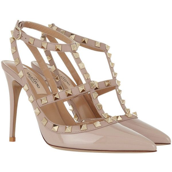 Valentino Pumps - Rockstud Pump Ankle Strap Patent Poudre - in purple,... (40,685 PHP) ❤ liked on Polyvore featuring shoes, pumps, strappy stilettos, purple shoes, purple pumps, pointed-toe pumps and high heel stilettos