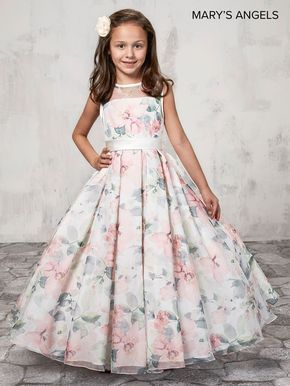9b7956e0cc8f Long Floral Print Flower Girl Dress by Mary s Bridal MB9009 in 2019 ...
