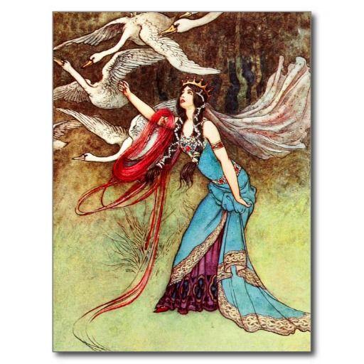 De slechte Koningin en Zes Zwanen Wenskaart
