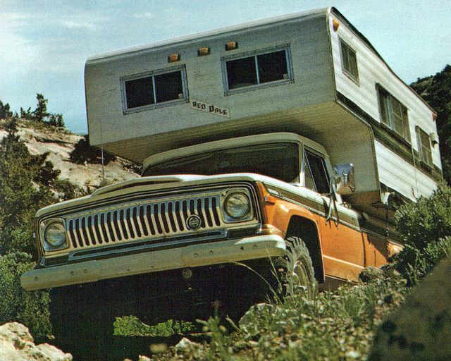 1973 Jeep J10 / J20 Pickup Truck with Red Dale camper   by coconv, via Flickr