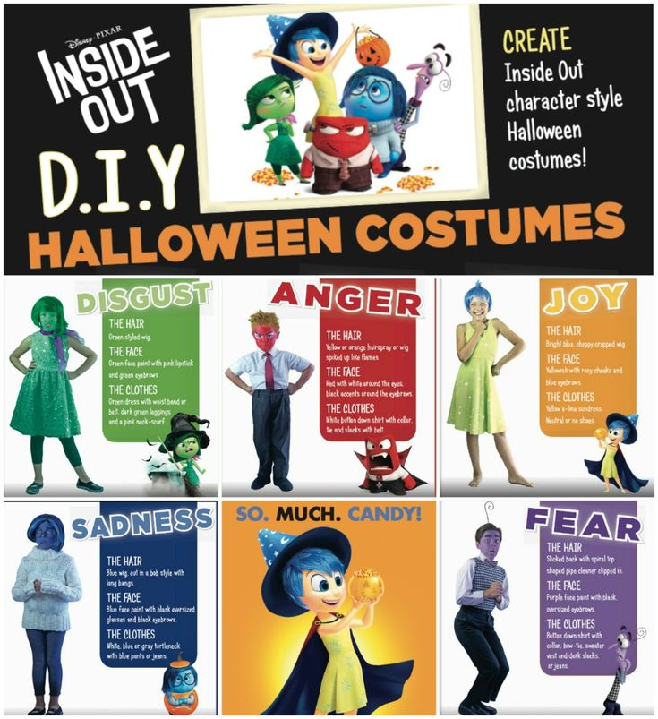 Why not throw an Inside Out Halloween Party? No need to go out and buy costumes, here's some quick and easy DIY Disney Inside Out Halloween costume ideas you can do yourself: