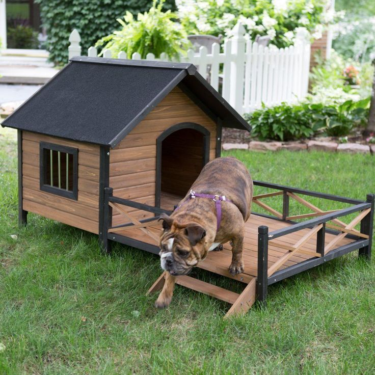 Dog Houses For Medium Dogs Outdoor Porch Deck Stair Kennel Wood Lodge Spacious #BoomerGeorge