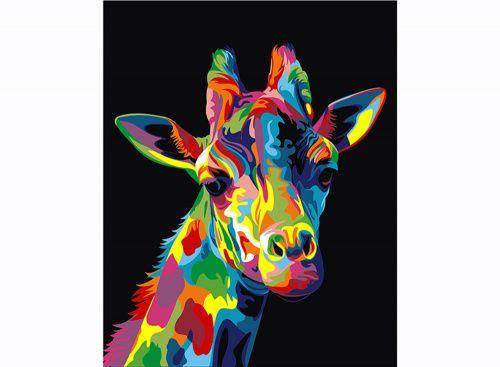 «Радужный жираф» Ваю Ромдони Картина по номерам, картина-раскраска по номерам, раскраска по номерам, paint by numbers, купить картину по номерам - Zvetnoe.ru - картины по номерам, алмазная мозаика