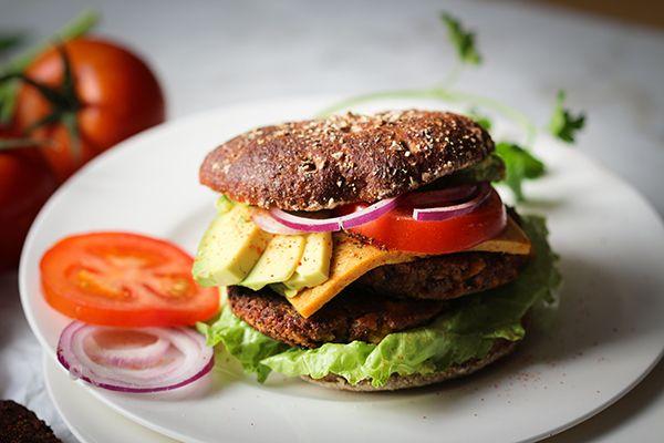 Black-Bean Tofu Burger with vegan cheese