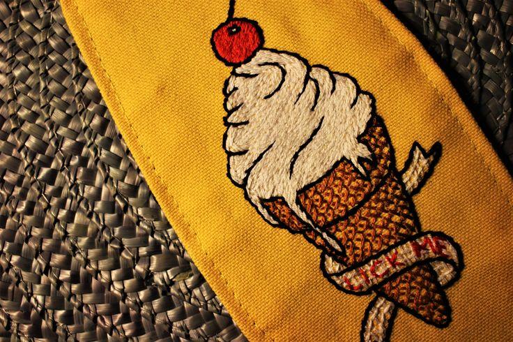 #oldschool #tattoo #design, #embroidery, #handmade, #icecream