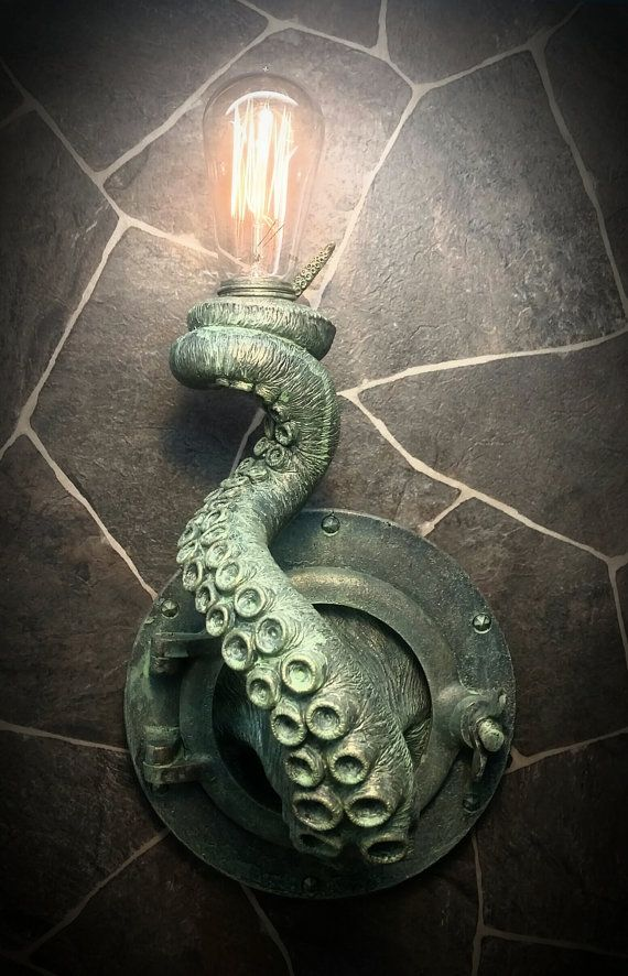 This unique nautical wall lamp is handmade and painted to order. The antiqued finish will light up your room as well as spark a conversation. The