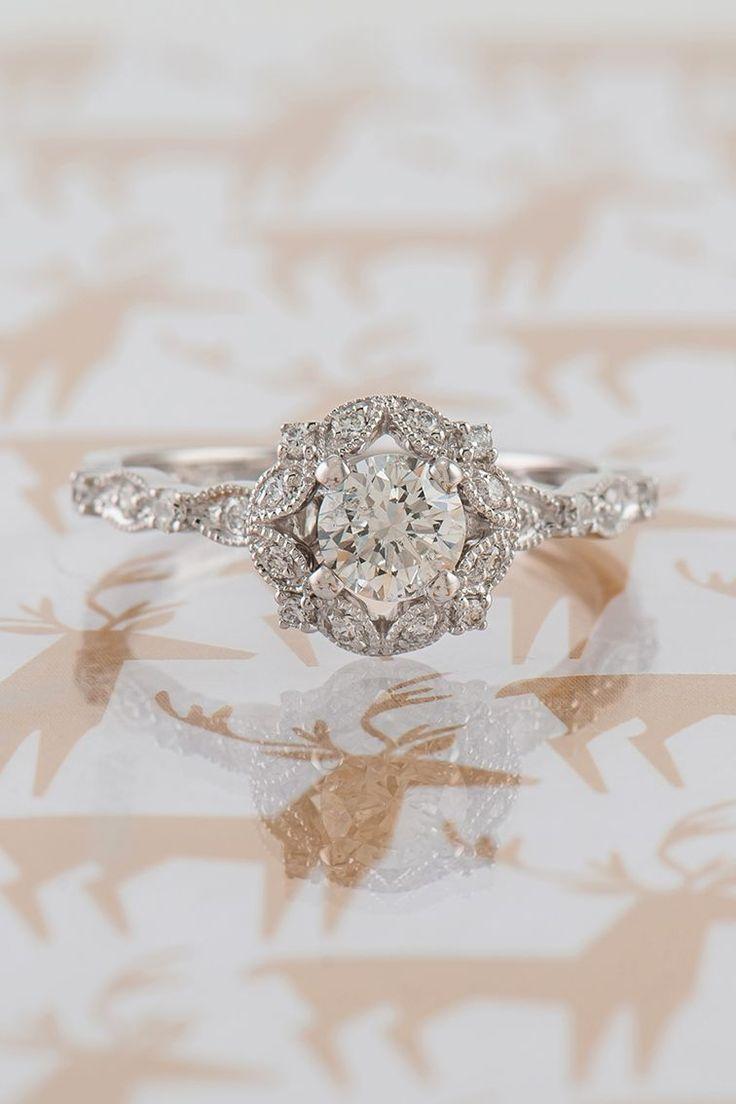 Vintage Round Halo Diamond Engagement Ring ,  Ashley Glazer