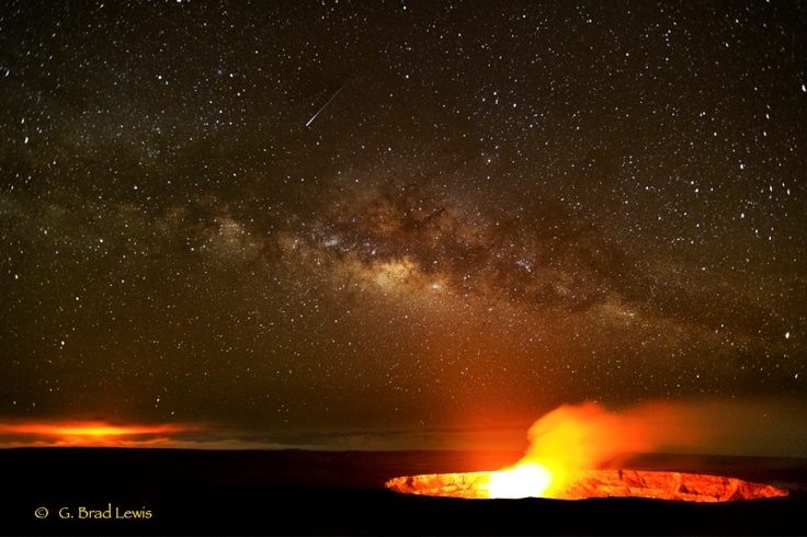 Hawaii - The Milky Way and 2 active vents of Kiluea volcano on the island of Hawaii (photo by G. Brad Lewis): Favorite Places, Lava Lakes, Halemaumau Vent, National Parks, Kilauea Volcanoes, Hawaii Volcanoes, Lava Pools, Milky Way, Volcanoes National
