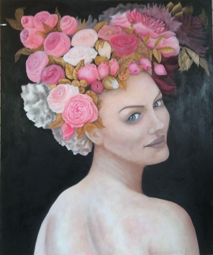 Regina di Fiori. Regina d'Oro. Olio su tavola. 50 x 60 cm. Di Sara Calcagno, pittrice italiana