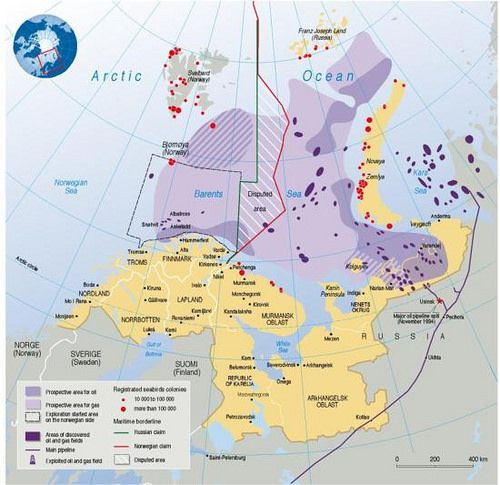 The Barents region is a highly explored area for gas and oil. The corresponding areas of oil exploration and sea bird colony proximity are clearly shown on the map. The disputed area between Norway and Russia is also highlighted. (Please note that the The Barents Euro-Arctic Council has expanded the membership since 1998)