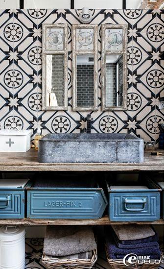 cement tiles, wooden