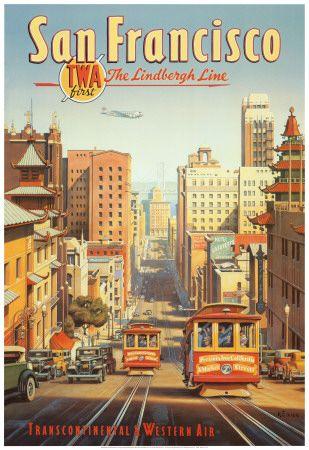 A Linha Lindbergh, São Francisco, Califórnia Impressão artística                                                                                                                                                                                 Mais