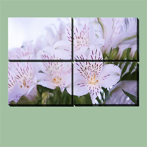 White Flower 4 pieces multicanvas. #multicanvas