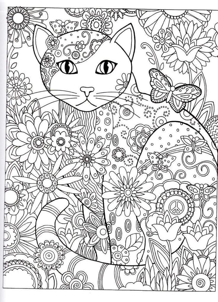 Advanced Cat Coloring Pages : Hearts advanced coloring page memes