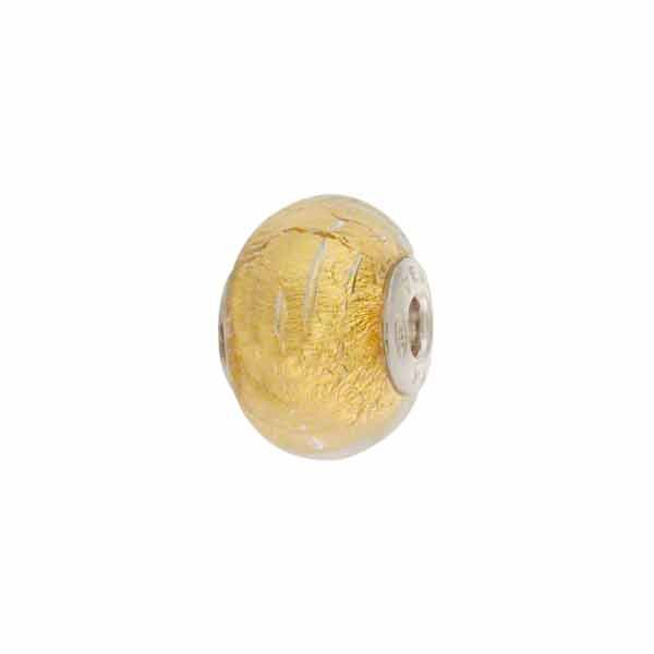 6a039e12a PERLAVITA BIMBI Rondell, 2.5mm Sterling Silver Insert, Clear Gold, Murano  Glass Charm Beads for Pandora & Chamilia Bracelets