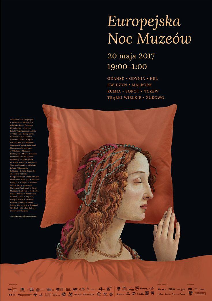 Europejska Noc Muzeów 2017 Gdańsk, Gdynia, Sopot, Malbork, Kwidzyn, Tczew itd.. proj. plakatu Hanna Kmieć; inspired by Sandro Botticeli http://szukamy.org/wywiad-z-autorka-plakatu-nocy-muzeow #nocmuzeów #poster, #boticcelli