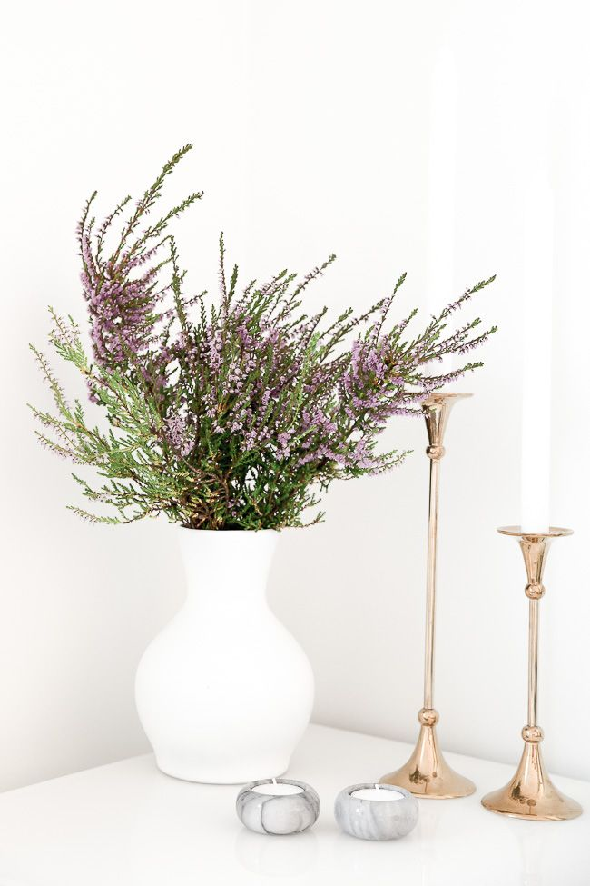 Autumn is coming. DIY spray painted white vase, marble and brass