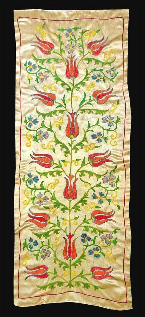ottoman embroidery | Gorgeous UZBEK Ottoman Silk Handmade Embroidery Long SUZANI V3327 ...