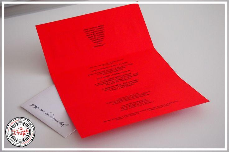 Środek zaproszenia - czerwony ślub / Red wedding