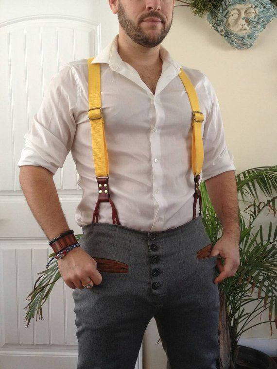 Hey, I found this really awesome Etsy listing at https://www.etsy.com/ca/listing/499946363/yellow-leather-suspenders-leather-and