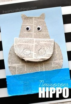 How to make a newspaper hippopotamus craft kids will love. Fun hippo craft for kids and animal craft using recyclable materials.