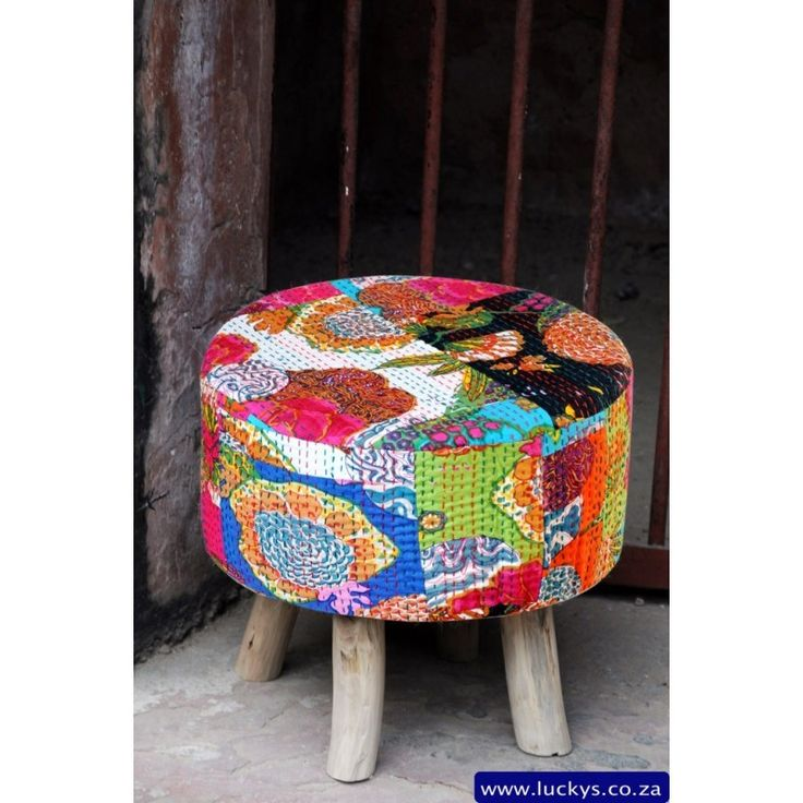 Hand Woven Cotton and Wood Ultra Modern Colourful Stool