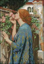 Top Quality beautiful nostalgic counted cross stitch kit Soul of The Rose lady woman girl in flowers(China (Mainland))