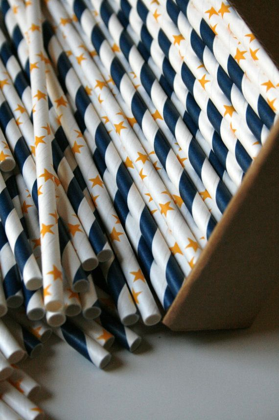 Starry Night Paper Straws Mix: navy and dark yellow, 30 of each color for $10.50  {In The Clear}
