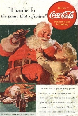 and guess who invented Santa the way we know him today: old red-cheeked man dressed in red..