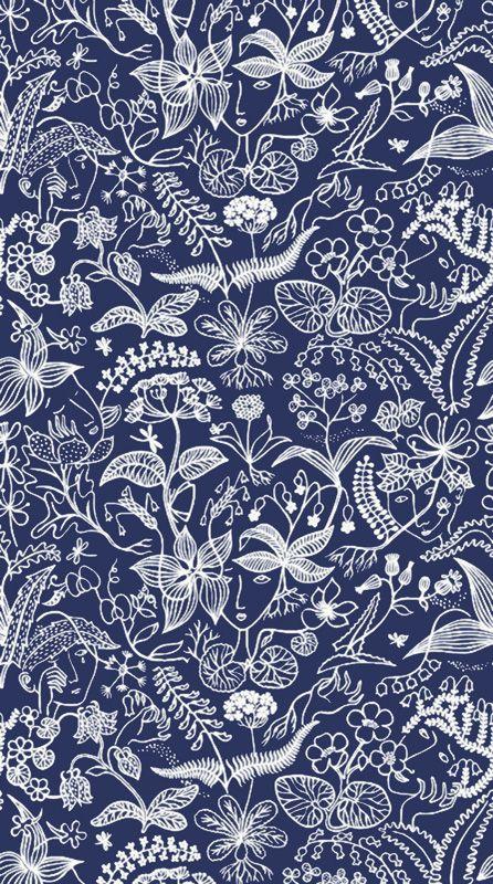 Textil 29238: Grazia Poca negativ blå från Ljungbergs - Tapetorama