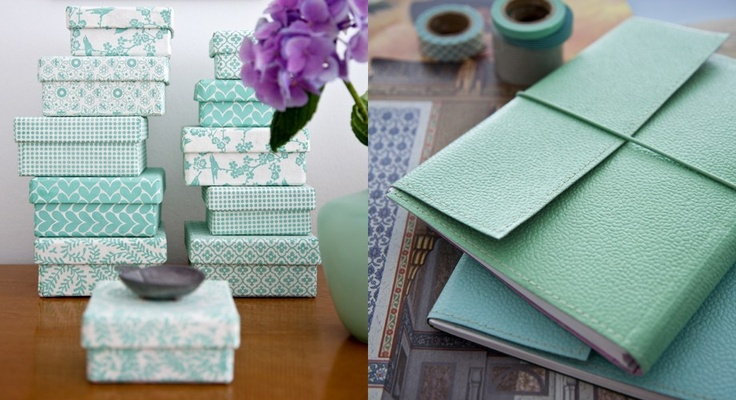 Boxes covered in handmade paper from Danish company, Bungalow