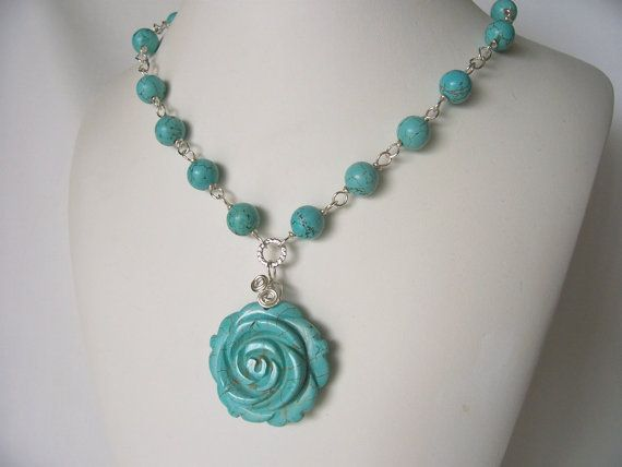 turquoise howlite necklace statement necklace ooak by sydemcgus