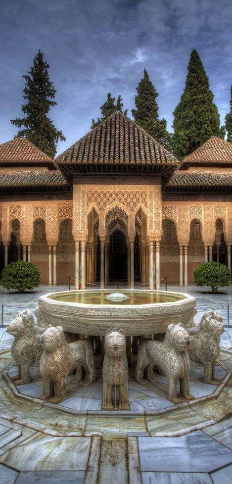 El Alhambra, Granada.  El arquitecturamusulmane eran muy bonito y complicado.