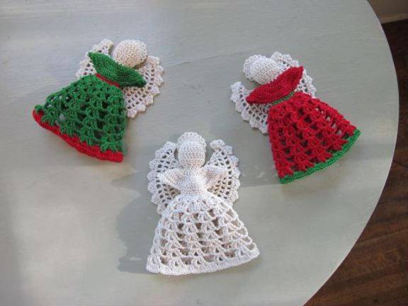 Crocheted angel ornaments.