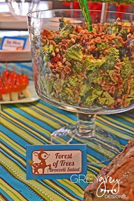 Forrest Friends Food Ideas: Broccoli Salad for a woodland or fox themed party
