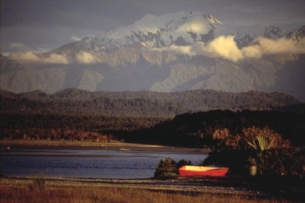 Okarito Lagoon and the Southern Alps, West Coast, New Zealand.1986. By Robin Morrison - hard to mistake it for anyone else's photo.  Such a brilliant photographer and sadly gone far far too soon.
