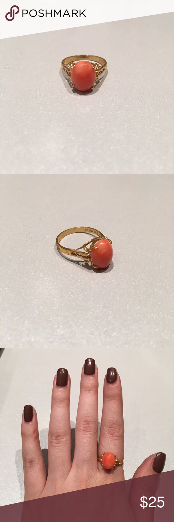 Gold Ring with Orange Stone Gold Ring with Orange Stone (exact size is unknown, but it's probably a 6 or a 7) Jewelry Rings