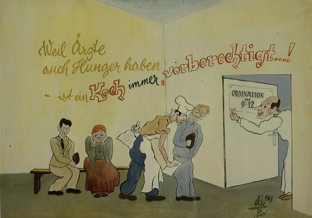 """Doctors are Hungry Too"" ~  Eli Leskley's Ghetto Diary ~ Born in 1911, Leskley painted 70 satiric watercolors while he was interned in Theresienstadt. The works are reflective of daily life in the ghetto. Fearing for his and his wife's life he cut up many of the orignals into small fragments, which his wife smartly hid. They were retrieved after the war and Leskley recreated each one.  They reflect the irony and the complexities that was life in Theresenstadt."