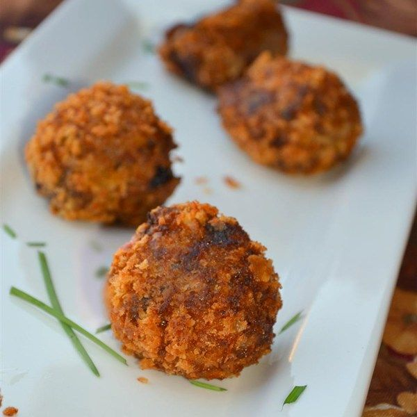 "Turkey Croquettes | ""This is a great recipe to use up leftover turkey or chicken. It does not taste anything like leftovers. Makes about six 2-inch croquette balls. Definitely need to double or triple recipe for large groups as I can eat 2 croquettes easily."""
