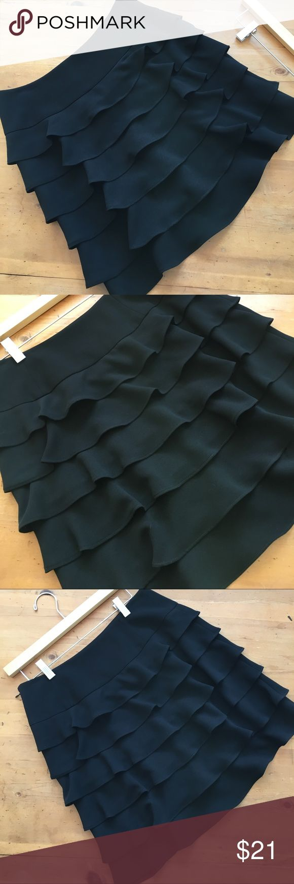 "INC Black Layered Ruffle Skirt Great condition super pretty wonderful basic or for a night out half zipper on side 14 1/2"" waist 19 "" long flat measurements size 6 no rips tears or stains non-smoking home INC International Concepts Skirts"