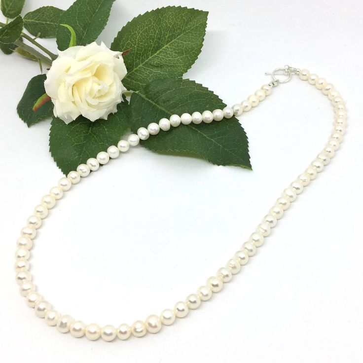 White Freshwater Pearl Necklace, Genuine Pearl Jewelry, Freshwater Cultured Pearl Jewellery, Real Pearl Necklace June Birthstone by JajyBoutique on Etsy https://www.etsy.com/uk/listing/546698014/white-freshwater-pearl-necklace-genuine