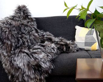 silver fox blanket throw, for sofa,for bed, etsy