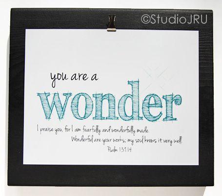 Inspirational Art, Scripture art, You Are A Wonder, Teal, 8x10 Art | StudioJRU - Print on ArtFire