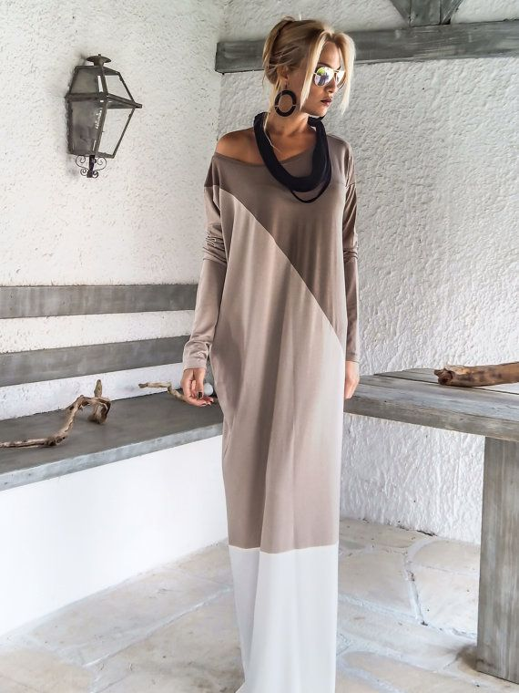 Dark Taupe Beige Ivory Maxi Dress Abaya / by SynthiaCouture