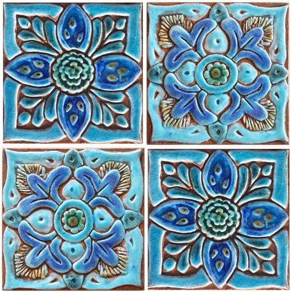 Decorative Tile Set Hand Paint Tile Decorative Tile Ceramic Tile Set 6 Tiles 15cm Square Moroccan Mandala Suzani Design Turquoise Outdoor Wall Art Painting Tile Ceramic Wall Art