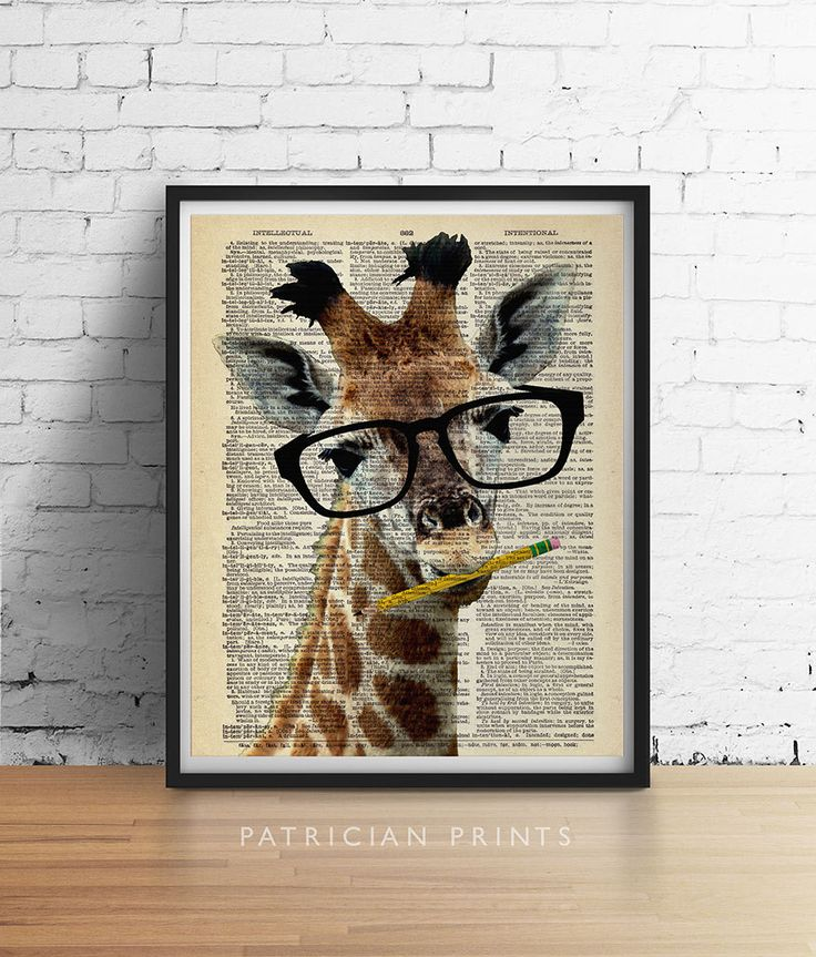 Intelligent giraffa dizionario Stampa artistica di PatricianPrints
