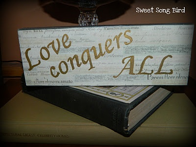Love Conquers All- Block Tutorial :): Words On Wood, Songs Birds, Blocks Tutorials, Signs Wood Projects, Songs Hye-Kyo, Wood Blocks, Sweet Songs, Love Conquers All, Wooden Blocks