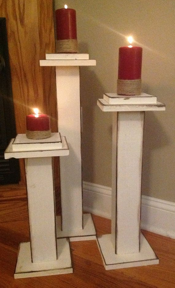 Set of 3 solid wood candle holders by sugargrovecottage on etsy sugargrovecottage - Unfinished wood candlestick holders ...