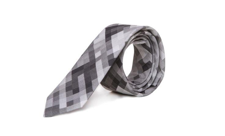 marthu tie grey pixel print, marthu print, cotton tie